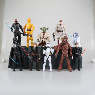 Star Wars 6  Action Figures Darth Vader Anakin Luke Skywalker Obi Wan Yoda 10Pcs