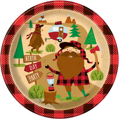 PLAID LUMBERJACK HAPPY BIRTHDAY LARGE PAPER PLATES (8) ~ Party Supplies Dinner - Plaid Paper Plates