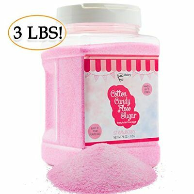 The Candery Cotton Candy Floss Sugar Strawberry Flavor- Reusable Plastic Jars -
