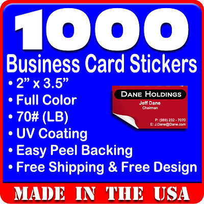 1000 Custom Full Color Business Card Stickers w/UV Glossy 2x3.5 Free Design