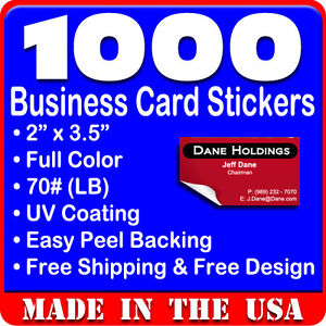 1000 Custom Full Color Business Card Stickers w UV Glossy