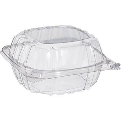Dart Solo C57PST1-50 Small Clear Plastic Hinged Food Container 6x6 for Sandwich  - Small Sandwiches