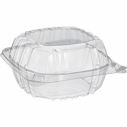 Dart Solo C57PST1-50 Small Clear Plastic Hinged Food Container 6x6 for Sandwich