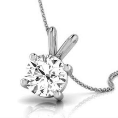 NATURAL ROUND DIAMOND F SI2 SOLITAIRE PENDANT NECKLACE 14K WHITE GOLD 0.5 -
