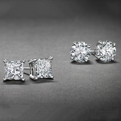 925 Silver 2ct Cubic Zirconia Stud Earrings, 6mm Silver Stud Earrings SET Cubic Zirconia Set