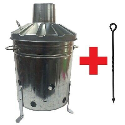 Mini Garden Incinerator Small 15L Rubbish Branch Burning Fire Bin + FREE Poker