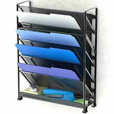 6 Tier Wall Mount Document Letter Tray Organizer Holding Folder Desk Accessories