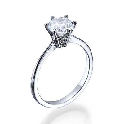 1 CT SOLITAIRE DIAMOND ENGAGEMENT RING 14K WHITE GOLD ROUND CUT D SI1 9247