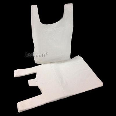 100 x WHITE PLASTIC VEST CARRIER BAGS 13
