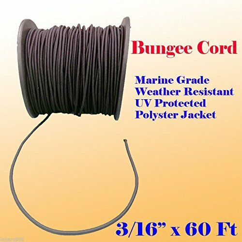 "3/16"" x 60 Ft Premium Marine Grade Bungee Shock Stretch Cord UV Black 60"
