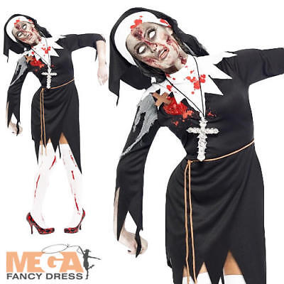 Zombie Nun Ladies Halloween Fancy Dress Womens Adults Bloody Sister Costume BN