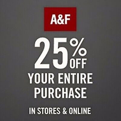 Abercrombie & Fitch Promo-Coupon Code 25% off $75+  Ex 5/31/20 Online/In Store