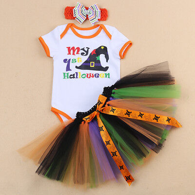 3PCS Newborn Baby Girl My 1st Halloween Romper Headband Tutu Skirt Dress - Newborn First Halloween