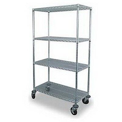 Storelogic 2HDL1 Wire Cart, 4 Shelf, 60x18x69, Zinc  4 Shelf Wire Carts