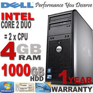 Windows 7 Dell Core 2 Duo 4GB 1000GB DVD Desktop PC Computer Tower - Win 7 Disc