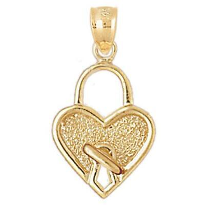 New 14k Gold Heart Padlock Pendant