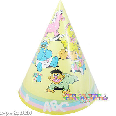 SESAME STREET PASTEL CONE HATS (6) ~ Vintage 1st Birthday Party Supplies Favors