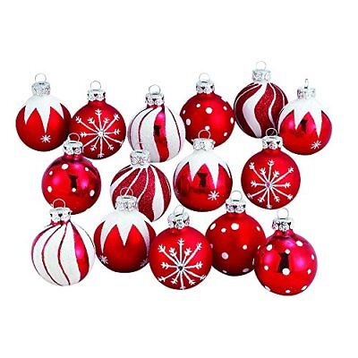 - NEW Medallion Collection Red  White Glitter Decorated Glass Ball Ornaments 15