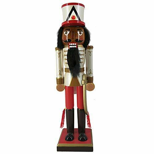Wooden African American Nutcracker Gold Red and Black Jacket and Sword 10 Inch