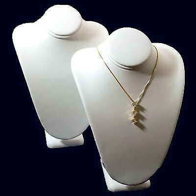 2 White Leather Necklace Bust Jewelry Displays 7 12