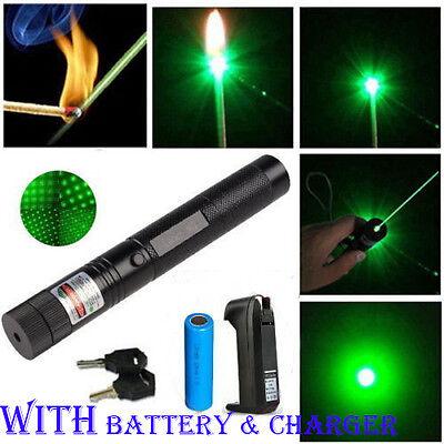 Powerful 1mw 303 Green Pointer Laser Pen Adjustable Focus 532nm Burning Lazer UK