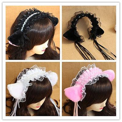 Halloween Japanese Cosplay Lolita Maid Party HairBand Headband Lace Bow Cat Ears - Lace Cat Ears Halloween