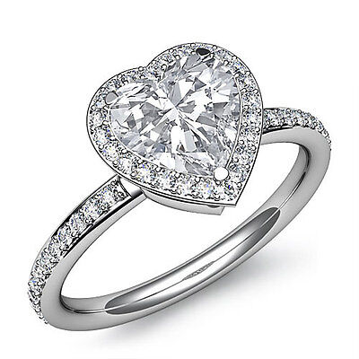 1.53 ct Classic Heart Cut Halo Diamond Engagement F SI1 GIA Ring 14K White Gold