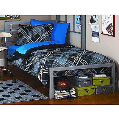 Metal Twin Size Bed Frame Platform Bedroom Furniture Headboard Kids Black NEW