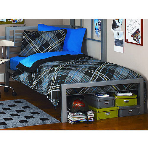 metal twin size bed frame platform bedroom furniture headboard kids black new