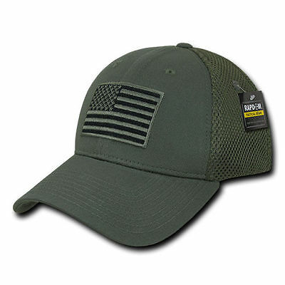 Olive USA US American Flag Tactical Operator Mesh Flex Fit Baseball Hat Cap