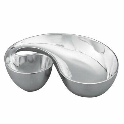 Nambe Morphik Metal Chip and Dip Bowl, Silver
