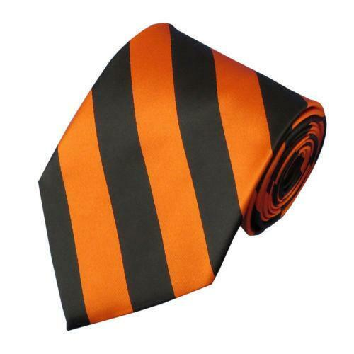 Orange Black Stripe Tie Ebay