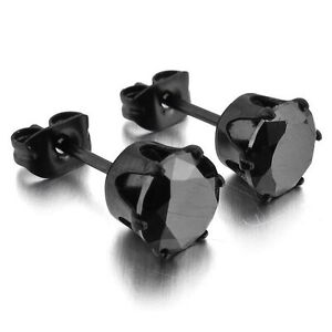 paire boucle d 39 oreille homme femme acier noir ronde zircon diams noire neuf dk ebay. Black Bedroom Furniture Sets. Home Design Ideas