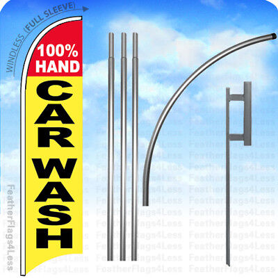 100 Hand Car Wash - Windless Swooper Feather Flag 15 Kit Banner Sign Yb