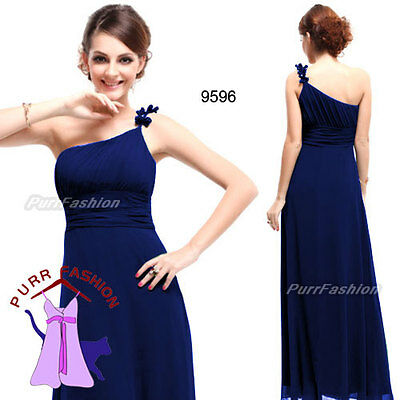 09596 One Shoulder Blue Ruffles Chiffon Evening Long Bridesmaid Dress 6-18