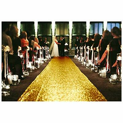 Cloth Runner Wedding 4FTx15FT Gold Aisle Runner Outdoor Carpets Sequin Aisle ...