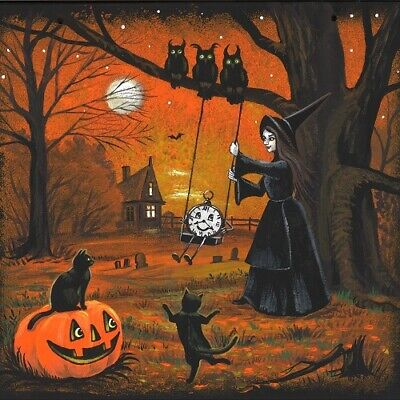 4X4 PRINT OF PAINTING RYTA HALLOWEEN WITCH LANDSCAPE BLACK CAT CLOCK STEAMPUNK - Paintings Of Halloween