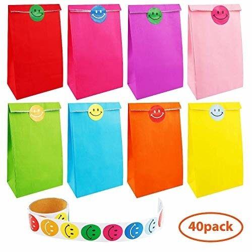 Colorful Kraft Paper Bags Matte Gift Bags Handles Party Treat Favor Bag Neon LOT