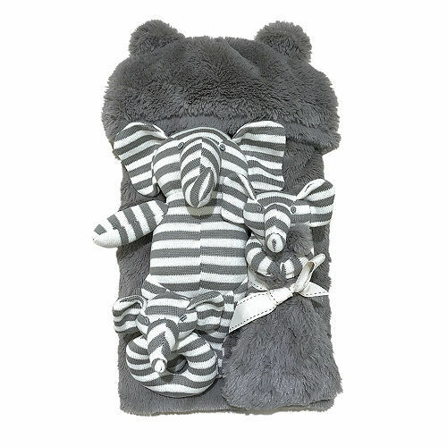 Bon Bébé Newborn Gift Set 4-Piece / Plush Gray Elephant