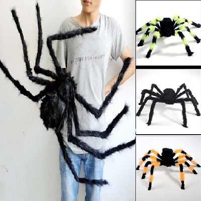 Black Giant Spider Plush Toys Halloween Decor Haunted House Props Size 30-125cm