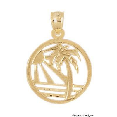 (New 14k Yellow Gold Sunset Beach Scene Palm Tree Pendant)