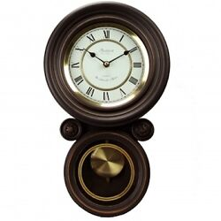 BEDFORD Round Wall Clock With Pendulum and Chime Office Home BLACK OAK NEW