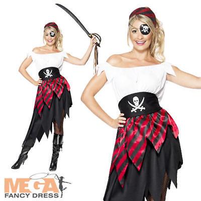 Fancy Dress Womens Pirates Adults Party Dress Up Costume New (Womens Pirate Wench Kostüm)