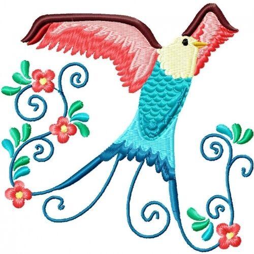 Embroidered Sweatshirt - Beautiful Birds PE05
