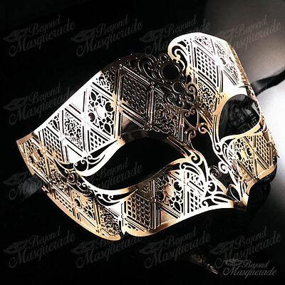 Gold Masquerade Mask (Mens Unisex Simplistic Filigree Light Metal Prom Masquerade Mask)