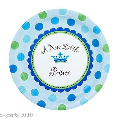 NEW LITTLE PRINCE LARGE PAPER PLATES (8) ~ Baby Shower Party Supplies Luncheon Baby Shower Paper Luncheon Plates