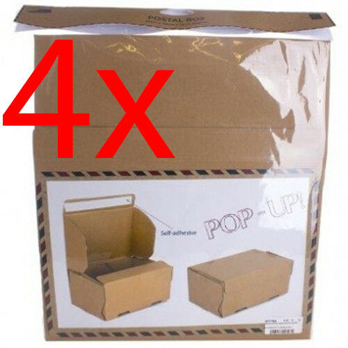 NEW 4 X POP UP CARDBOARD POSTAGE BOX DELIVERY SELF