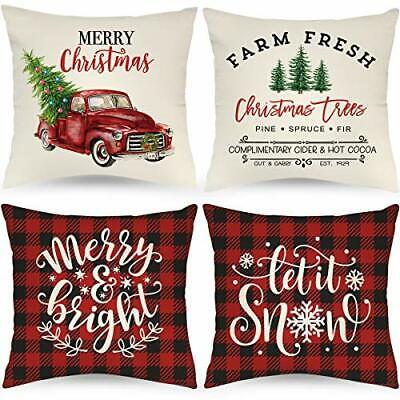 Farmhouse Christmas Pillow Covers 24x24 Inch Set of 4 Buffalo Plaid Black and R