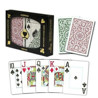(Copag Poker Size Jumbo Index 1546 Playing Cards (Green/Burgundy) New)