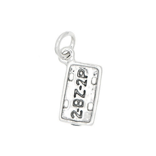 SILVER ONE SIDED FOREIGN LICENSE PLATE CHARM OR PENDANT